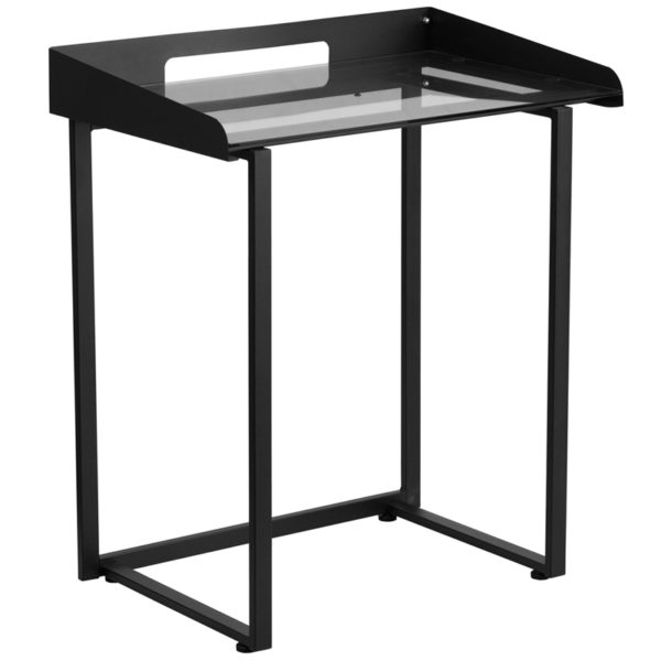Wholesale Contemporary Clear Tempered Glass Desk with Raised Cable Management Border and Black Metal Frame