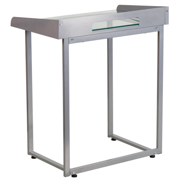Lowest Price Contemporary Clear Tempered Glass Desk with Raised Cable Management Border and Silver Metal Frame