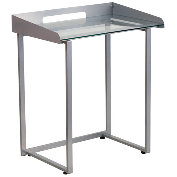 Wholesale Contemporary Clear Tempered Glass Desk with Raised Cable Management Border and Silver Metal Frame
