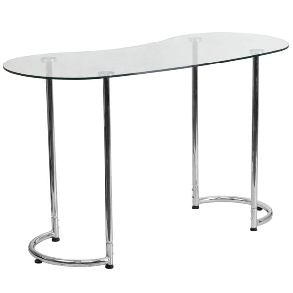 Lowest Price Contemporary Desk with Curvaceous Clear Tempered Glass