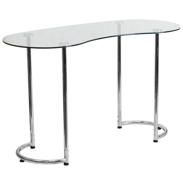 Wholesale Contemporary Desk with Curvaceous Clear Tempered Glass