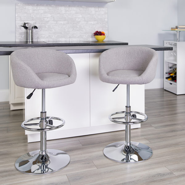 Lowest Price Contemporary Gray Fabric Adjustable Height Barstool with Barrel Back and Chrome Base