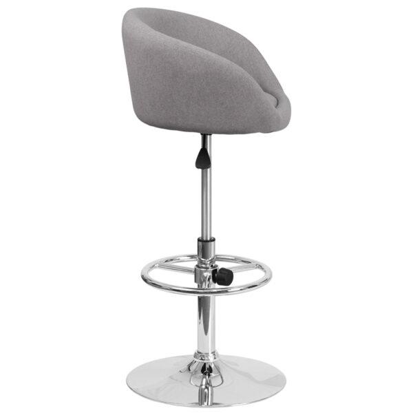 Contemporary Style Stool Gray Fabric Barstool