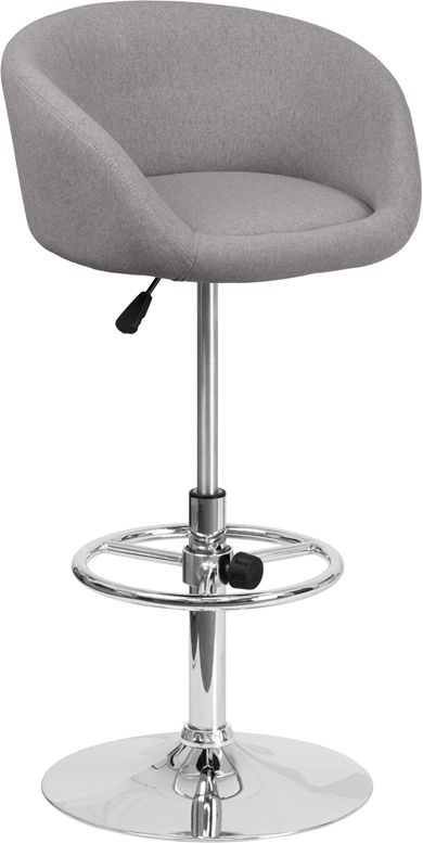 Wholesale Contemporary Gray Fabric Adjustable Height Barstool with Barrel Back and Chrome Base