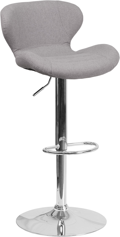 Wholesale Contemporary Gray Fabric Adjustable Height Barstool with Curved Back and Chrome Base
