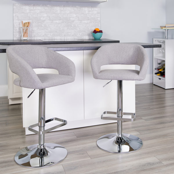 Lowest Price Contemporary Gray Fabric Adjustable Height Barstool with Rounded Mid-Back and Chrome Base