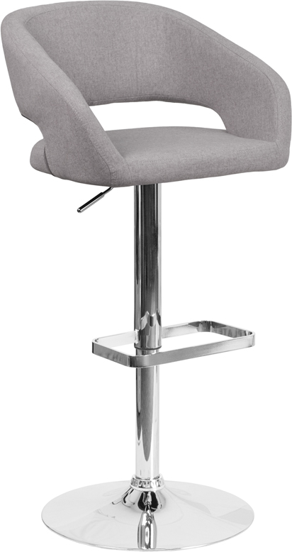 Wholesale Contemporary Gray Fabric Adjustable Height Barstool with Rounded Mid-Back and Chrome Base