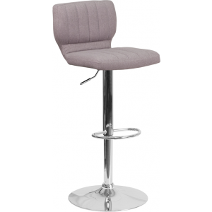 Wholesale Contemporary Gray Fabric Adjustable Height Barstool with Vertical Stitch Back and Chrome Base