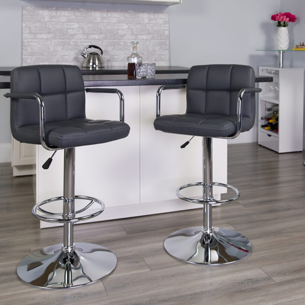 Lowest Price Contemporary Gray Quilted Vinyl Adjustable Height Barstool with Arms and Chrome Base