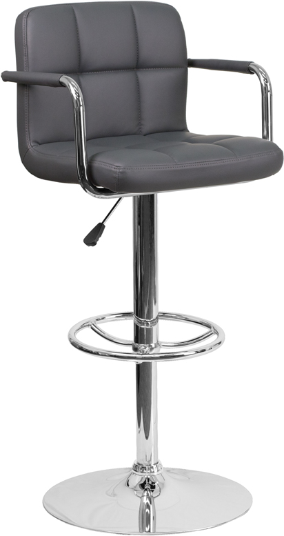 Wholesale Contemporary Gray Quilted Vinyl Adjustable Height Barstool with Arms and Chrome Base