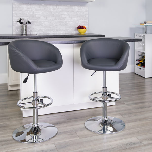 Lowest Price Contemporary Gray Vinyl Adjustable Height Barstool with Barrel Back and Chrome Base