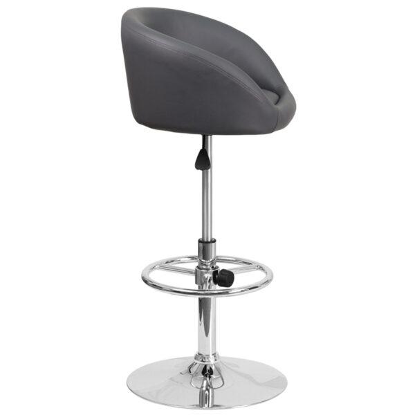 Contemporary Style Stool Gray Vinyl Barstool