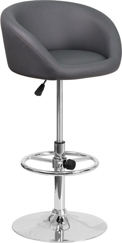 Wholesale Contemporary Gray Vinyl Adjustable Height Barstool with Barrel Back and Chrome Base