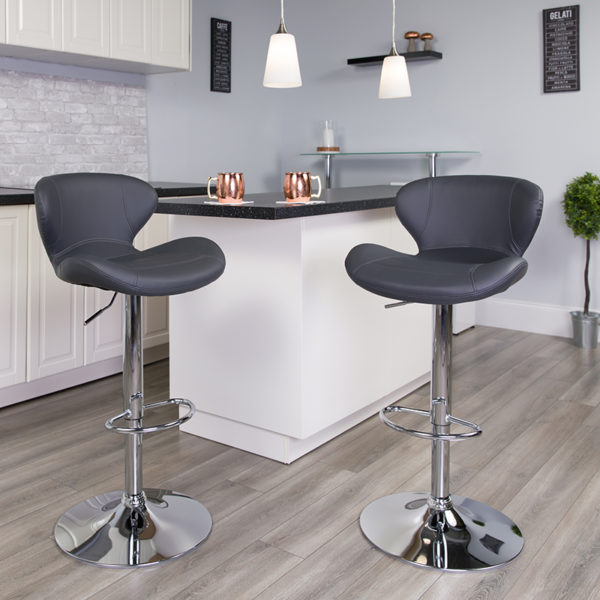 Lowest Price Contemporary Gray Vinyl Adjustable Height Barstool with Curved Back and Chrome Base