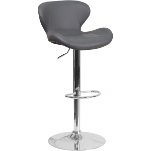 Wholesale Contemporary Gray Vinyl Adjustable Height Barstool with Curved Back and Chrome Base