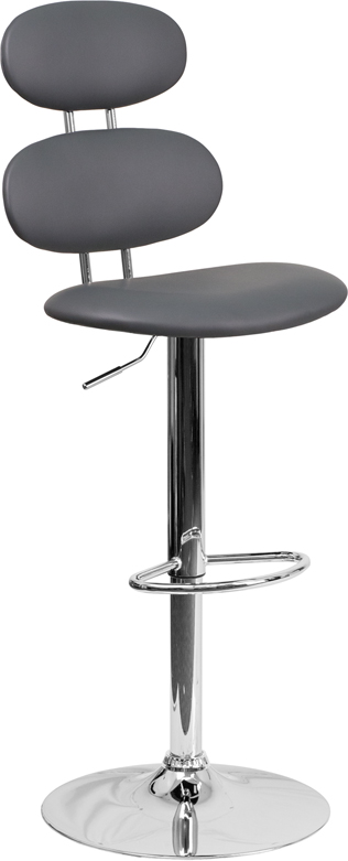 Wholesale Contemporary Gray Vinyl Adjustable Height Barstool with Ellipse Back and Chrome Base