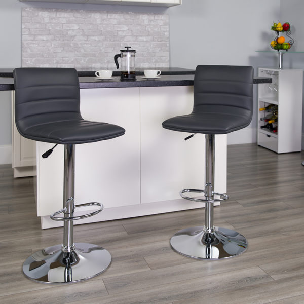 Lowest Price Contemporary Gray Vinyl Adjustable Height Barstool with Horizontal Stitch Back and Chrome Base