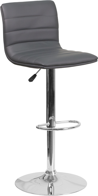 Wholesale Contemporary Gray Vinyl Adjustable Height Barstool with Horizontal Stitch Back and Chrome Base