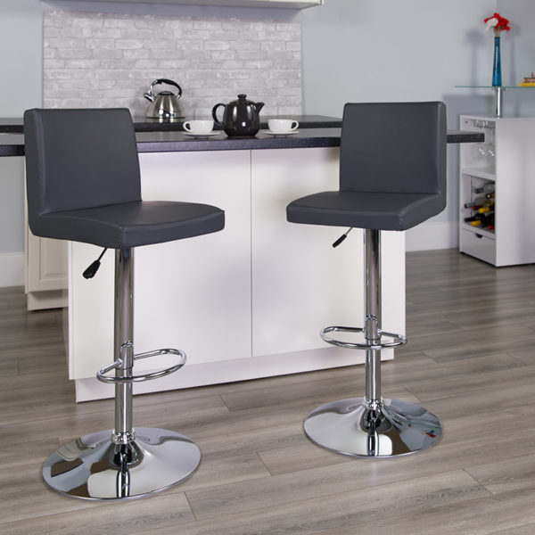 Lowest Price Contemporary Gray Vinyl Adjustable Height Barstool with Panel Back and Chrome Base