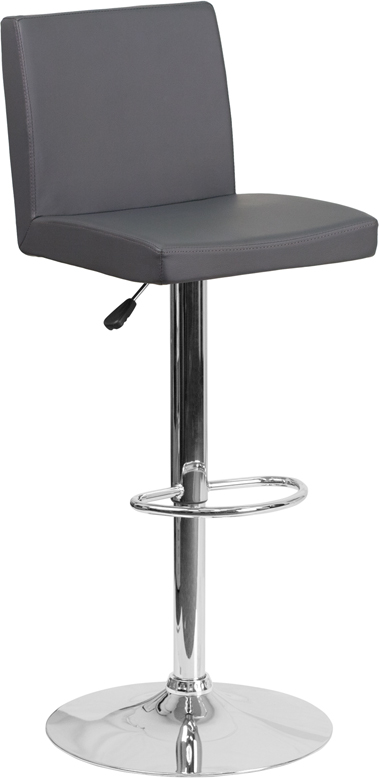 Wholesale Contemporary Gray Vinyl Adjustable Height Barstool with Panel Back and Chrome Base