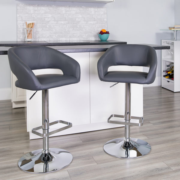Lowest Price Contemporary Gray Vinyl Adjustable Height Barstool with Rounded Mid-Back and Chrome Base
