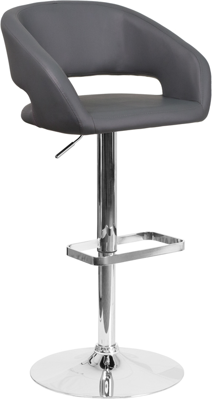 Wholesale Contemporary Gray Vinyl Adjustable Height Barstool with Rounded Mid-Back and Chrome Base