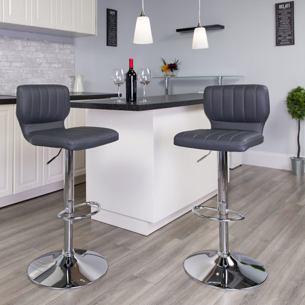 Lowest Price Contemporary Gray Vinyl Adjustable Height Barstool with Vertical Stitch Back and Chrome Base