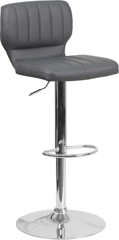 Wholesale Contemporary Gray Vinyl Adjustable Height Barstool with Vertical Stitch Back and Chrome Base