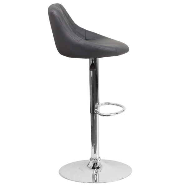 Lowest Price Contemporary Gray Vinyl Bucket Seat Adjustable Height Barstool with Chrome Base