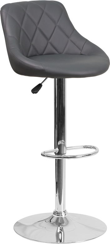 Wholesale Contemporary Gray Vinyl Bucket Seat Adjustable Height Barstool with Chrome Base