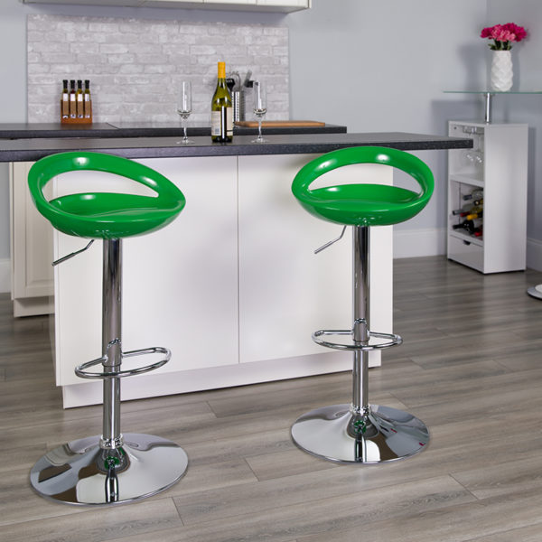 Lowest Price Contemporary Green Plastic Adjustable Height Barstool with Rounded Cutout Back and Chrome Base