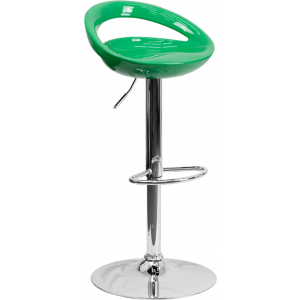 Wholesale Contemporary Green Plastic Adjustable Height Barstool with Rounded Cutout Back and Chrome Base