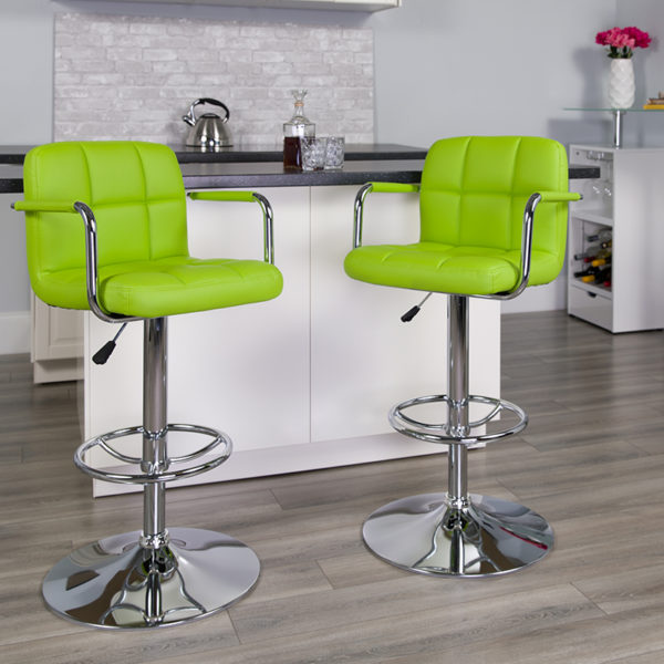 Lowest Price Contemporary Green Quilted Vinyl Adjustable Height Barstool with Arms and Chrome Base