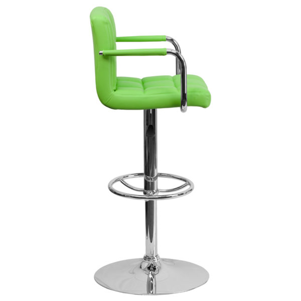Contemporary Style Stool Green Quilted Vinyl Barstool