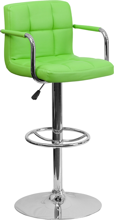 Wholesale Contemporary Green Quilted Vinyl Adjustable Height Barstool with Arms and Chrome Base