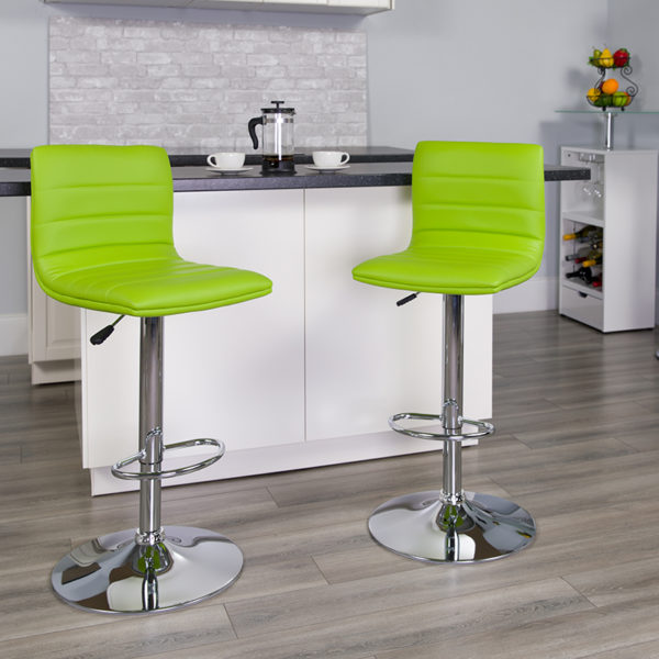 Lowest Price Contemporary Green Vinyl Adjustable Height Barstool with Horizontal Stitch Back and Chrome Base