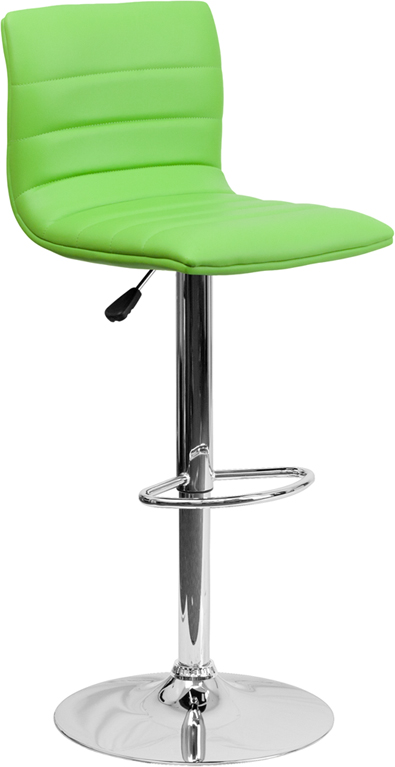 Wholesale Contemporary Green Vinyl Adjustable Height Barstool with Horizontal Stitch Back and Chrome Base