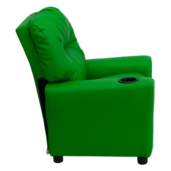 Lowest Price Contemporary Green Vinyl Kids Recliner with Cup Holder