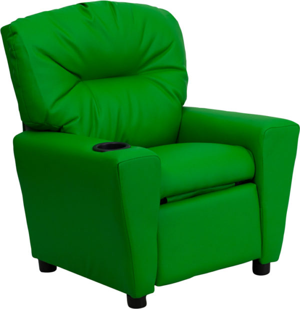 Wholesale Contemporary Green Vinyl Kids Recliner with Cup Holder