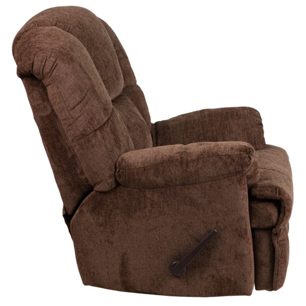 Lowest Price Contemporary Hillel Chocolate Chenille Rocker Recliner