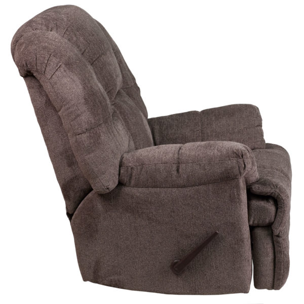 Lowest Price Contemporary Hillel Pewter Chenille Rocker Recliner