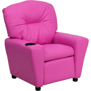 Wholesale Contemporary Hot Pink Vinyl Kids Recliner with Cup Holder