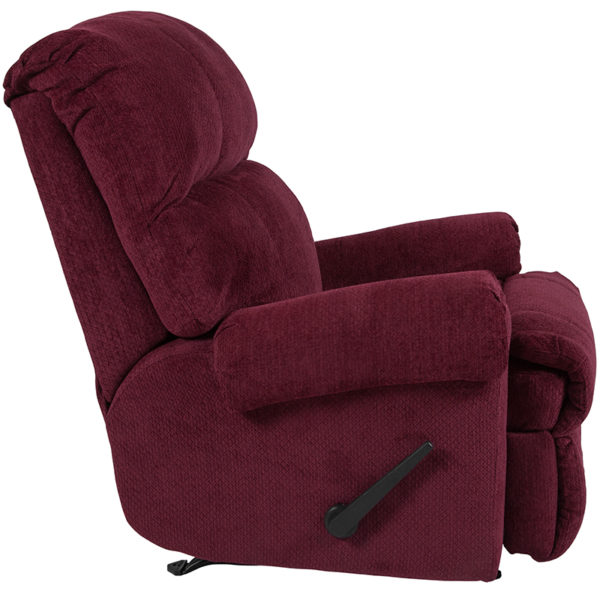 Lowest Price Contemporary Kelly Burgundy Super Soft Textured Microfiber Rocker Recliner