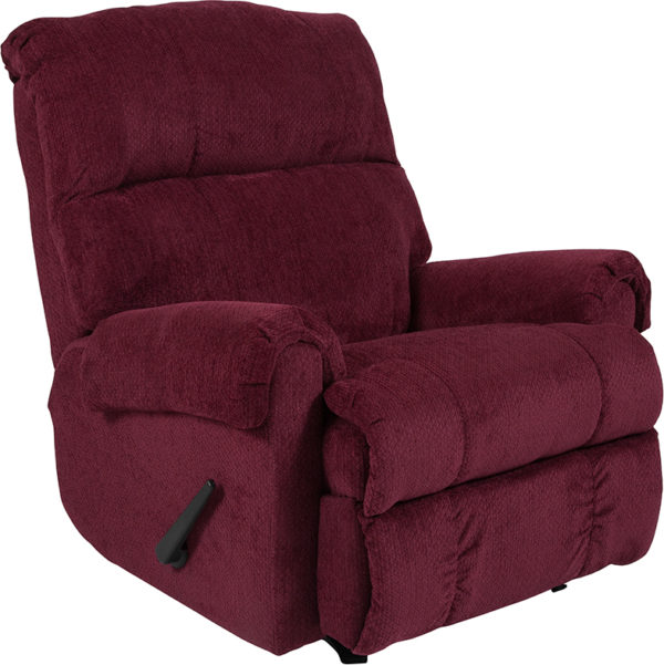 Wholesale Contemporary Kelly Burgundy Super Soft Textured Microfiber Rocker Recliner
