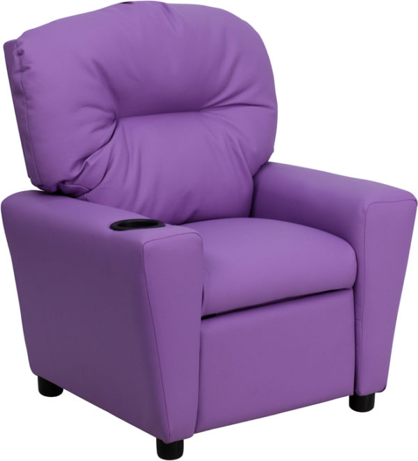 Wholesale Contemporary Lavender Vinyl Kids Recliner with Cup Holder