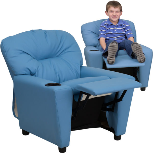 Wholesale Contemporary Light Blue Vinyl Kids Recliner with Cup Holder