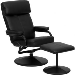 Wholesale Contemporary Multi-Position Headrest Recliner and Ottoman with Wrapped Base in Black Leather