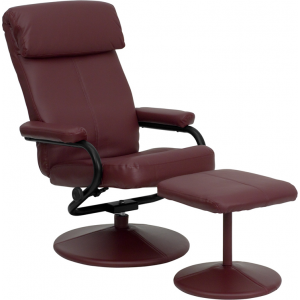 Wholesale Contemporary Multi-Position Headrest Recliner and Ottoman with Wrapped Base in Burgundy Leather