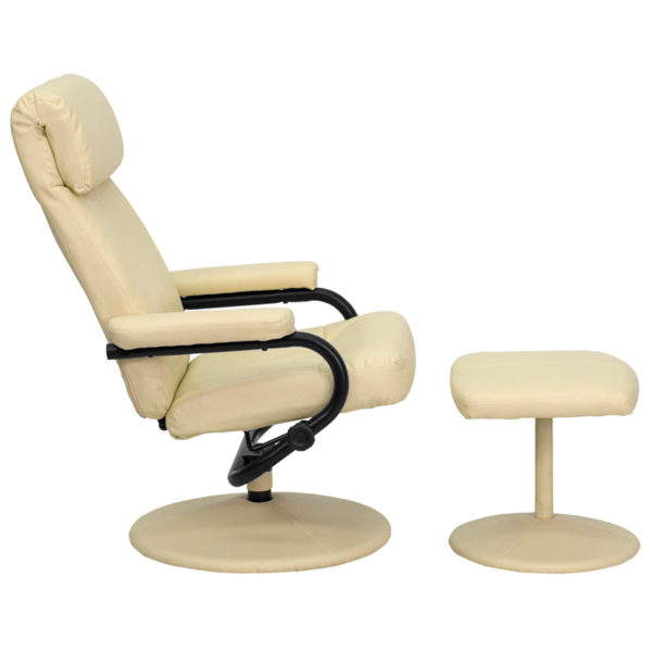 Lowest Price Contemporary Multi-Position Headrest Recliner and Ottoman with Wrapped Base in Cream Leather