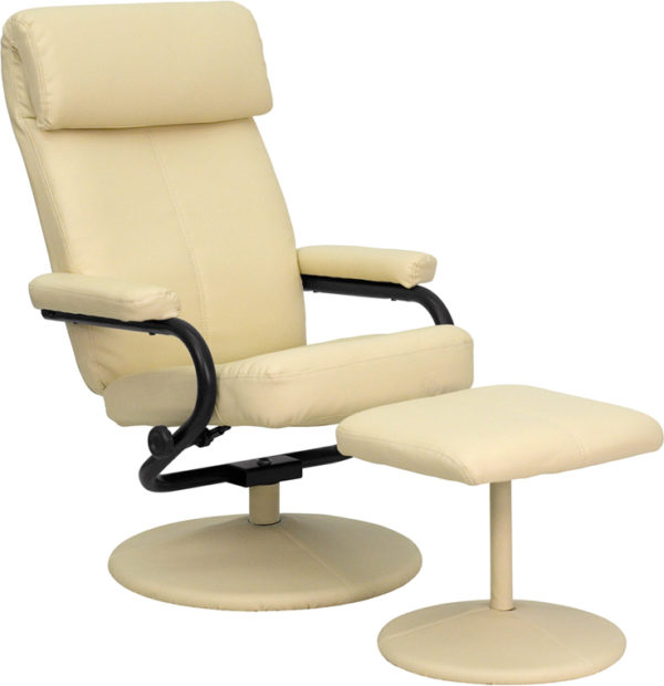 Wholesale Contemporary Multi-Position Headrest Recliner and Ottoman with Wrapped Base in Cream Leather